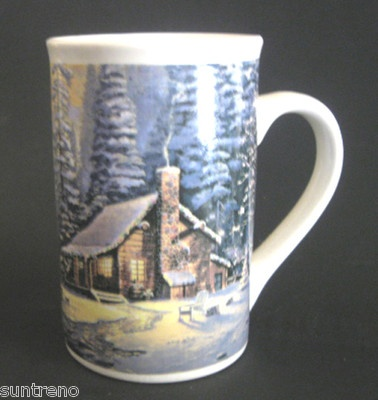 Thomas Kinkade Christmas Retreat Tall 16oz Ceramic Coffee Mug 2008