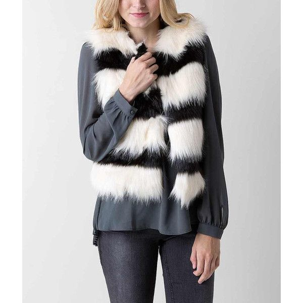 Jealous Tomato Striped Vest - White/Black Large ($44) ❤ liked on Polyvore featuring outerwear, vests, black and white vest, black and white striped vest, striped vest, black and white faux fur vest and vest waistcoat