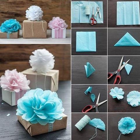 Lindas flores de papel seda para decorar envoltorios. Descubre el paso a paso en esta fotito. Pronto nuevos proyectos ¡esperalos! #manualidades #decoracion #pasoapaso #proyectos #diy #soniafranco #nuestracasa #DIY #floresdeseda #paquetes #regalos