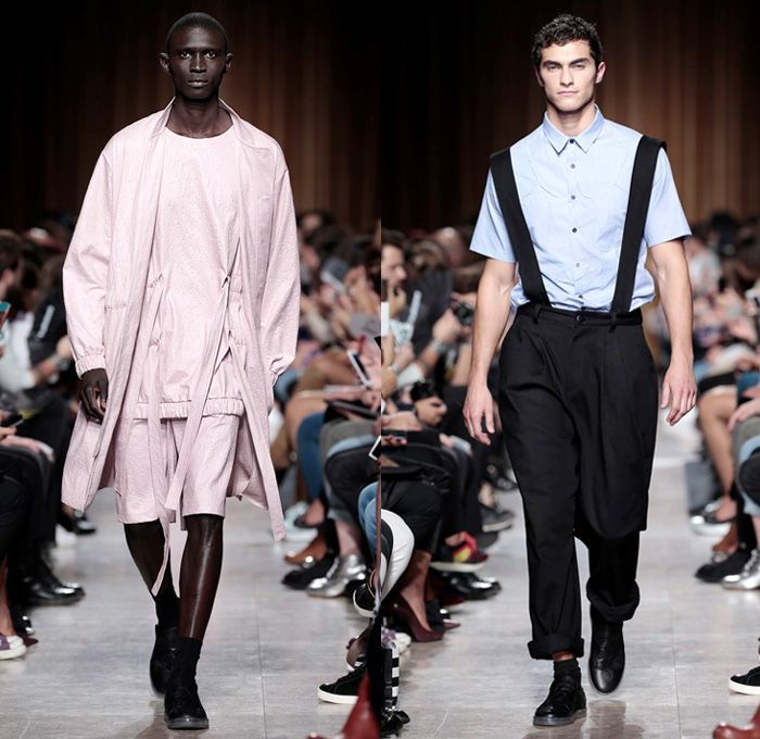 Alexandra Moura 2016 Spring Summer Mens Runway Catwalk Looks - Moda Lisboa Fashion Week Lisbon Portugal - The Timers Modalisboa Denim Jeans Ribbon Bow Knot Straps Slouchy Outerwear Coat Jacket Shorts Sneakers Jacquard Hoodie Embroidery Shirt Long Sleeve Clown Pants Trousers Brace Suspenders