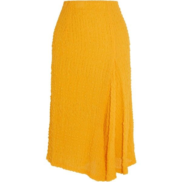 VICTORIA BECKHAM   Silk-seersucker skirt (2,085 PEN) ❤ liked on Polyvore featuring skirts, silk skirts, victoria beckham, yellow skirt, seersucker skirts and victoria beckham skirt