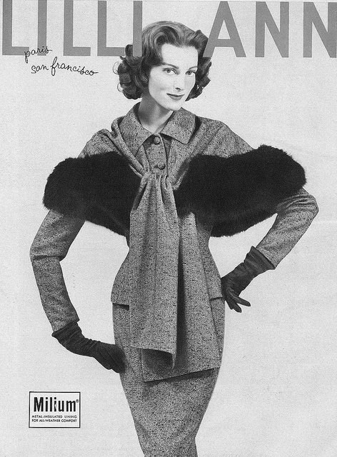 Ciao Bellissima - Vintage Glam; Carmen Dell'Orefice wearing design by Lilli Ann, Vogue February 1958