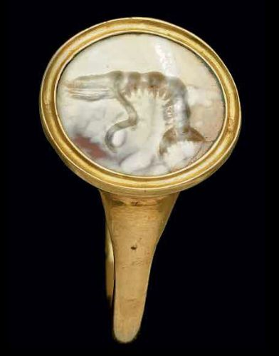 A ROMAN AGATE RINGSTONE CIRCA 1ST CENTURY B.C. The flat oval stone engraved with a shrimp in profile to the left; mounted as a ring in a modern gold setting | Christie's: