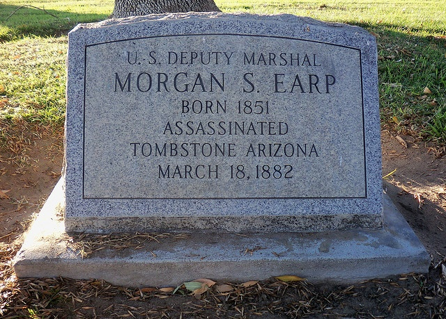 Morgan Seth Earp (April 24, 1851 – March 18, 1882) was the younger brother of Wyatt Earp, the famous gunfighter. Morgan was involved in the gunfight at the O.K. Corral, where he was wounded. His assassination in Tombstone was part of a wave of vendetta killing in the southeastern Arizona Territory.