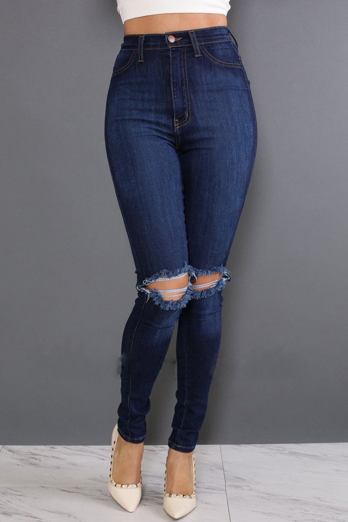 US$ 9.5000 Dark Blue Ripped Holes Jeans LE5825-1