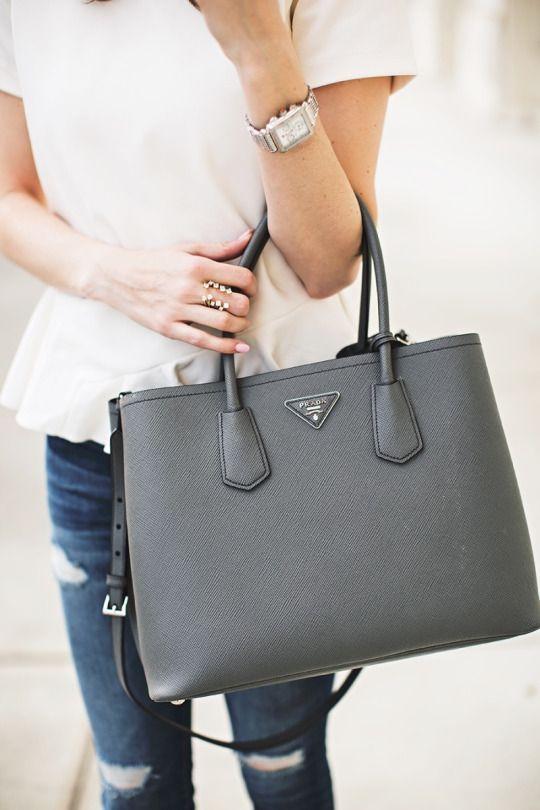 grey | structured purse | Saffiano executive tote bag | Saffiano Leather | Prada