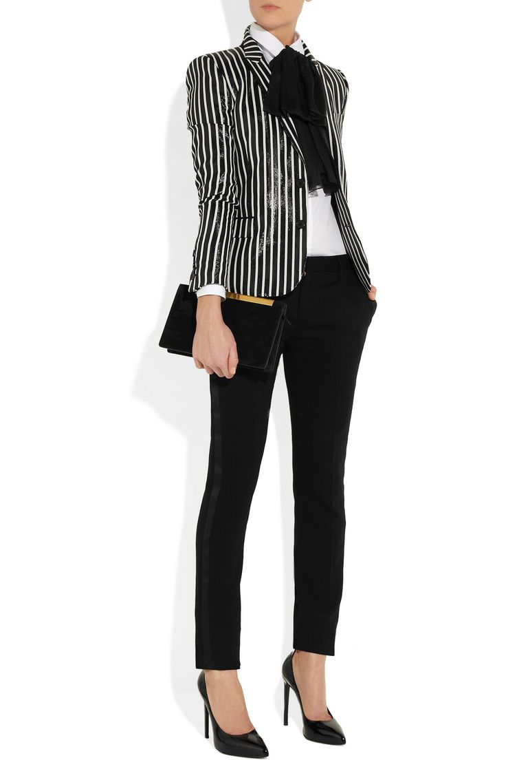 Saint Laurent | Striped glossed rayure-effect blazer | NET-A-PORTER.COM #Monochrome