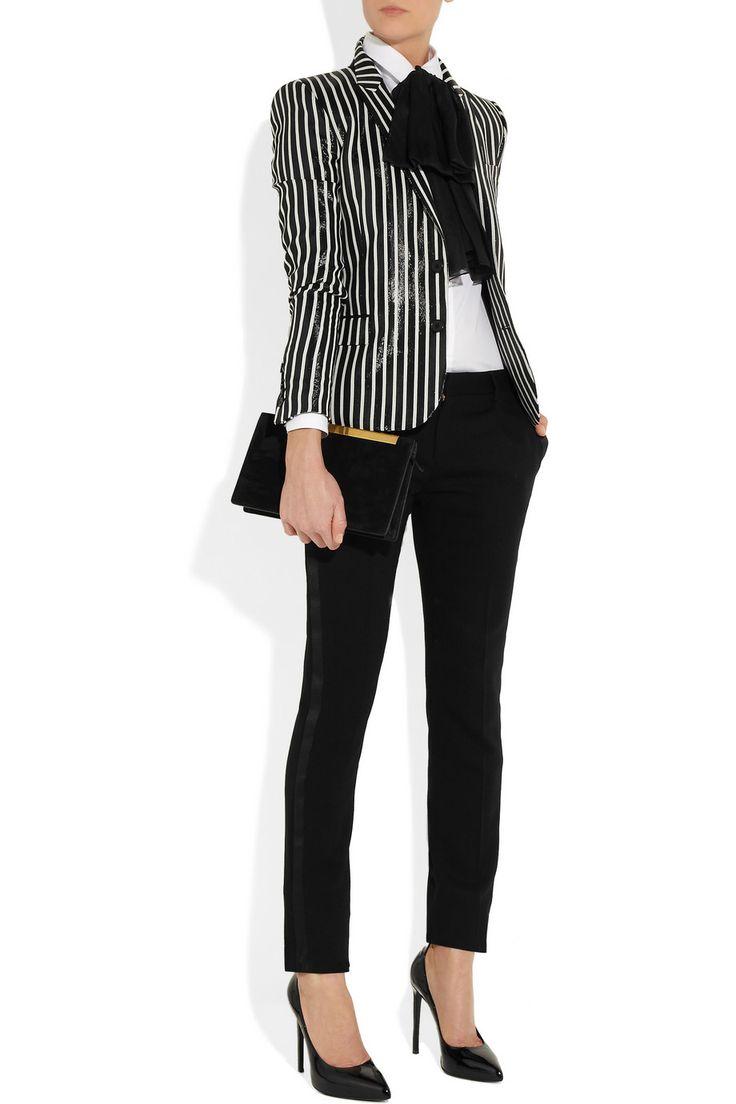 Saint Laurent|Striped glossed rayure-effect blazer