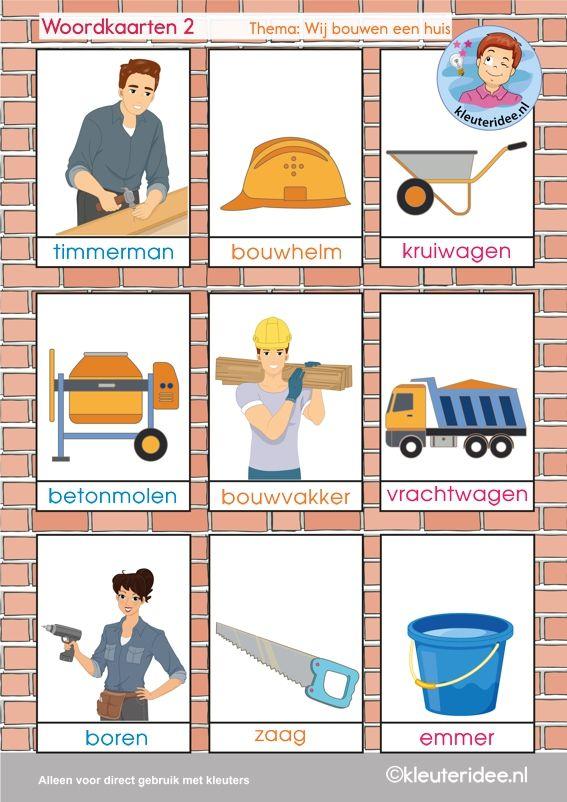 Woordkaarten 2, thema 'wij bouwen een huis', kleuteridee, free printable.
