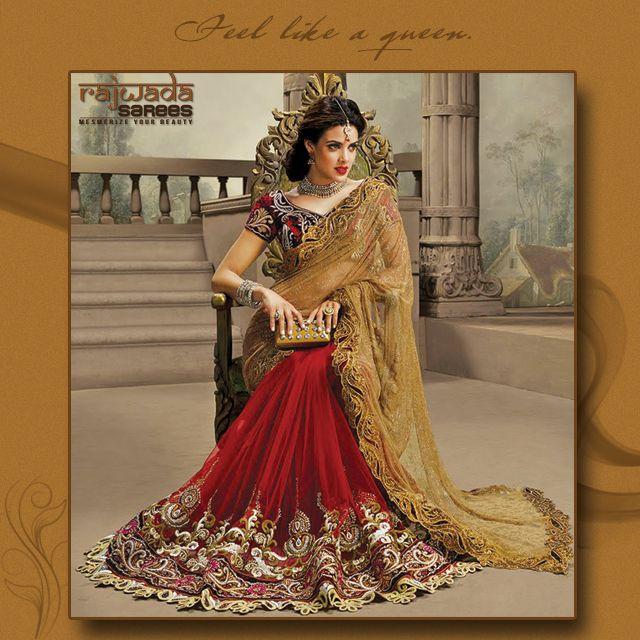 Look Gorgeous & beautiful design with Rajwada sarees.