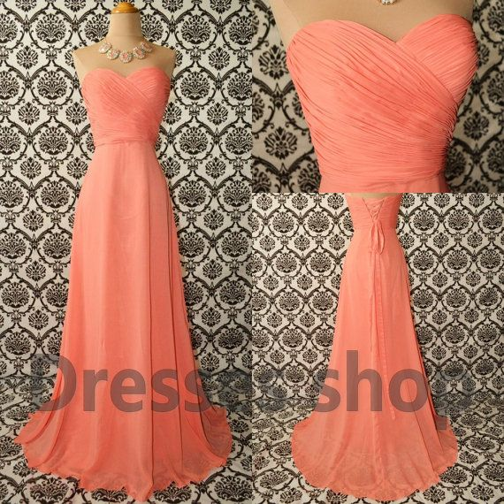 Peach Long Chiffon Prom Evening Party Homecoming Cocktail Bridesmaid Formal Dresses 06 on Etsy, $118.00
