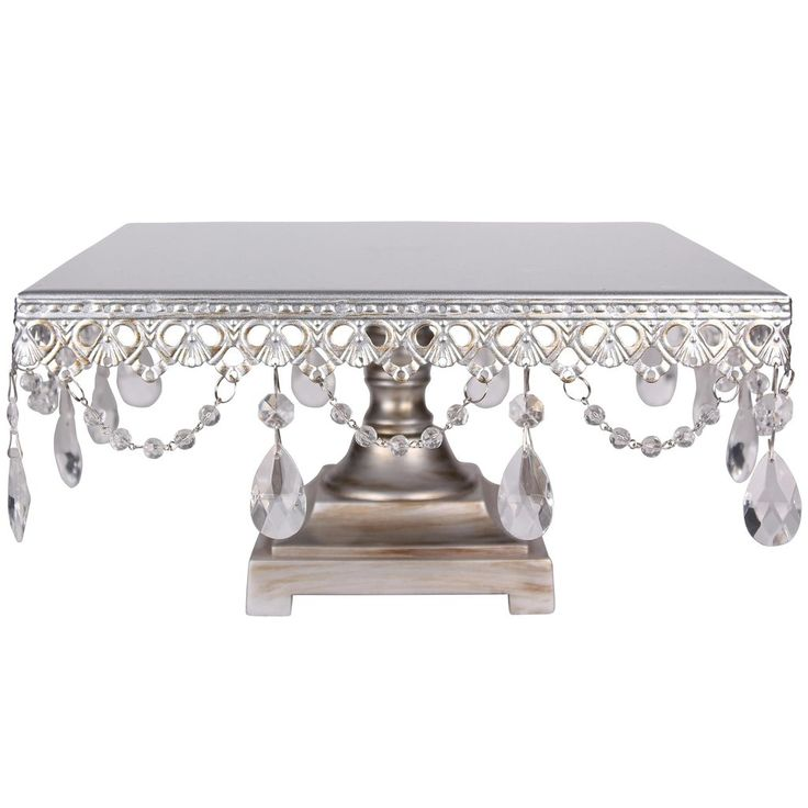 "Dimensions: 11.5"" (Length) X 11.5"" (Width) X 6"" (Height) - Sturdy metal crafted frame and base; draped with beautiful glass crystals and beads - Hand-painted in silver and finished with antique-style"