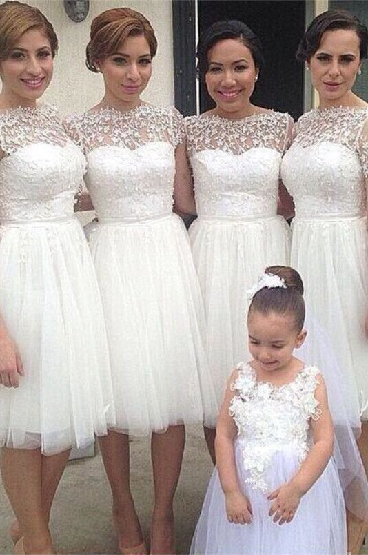 Romantic White Tulle Lace Bridesmaid Dress 2016 Short Sleeve