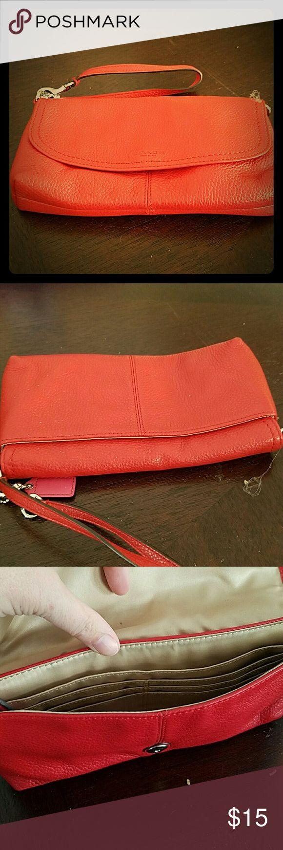 Coach orange clutch bag wristlet Great contion Coach Bags Clutches & Wristlets