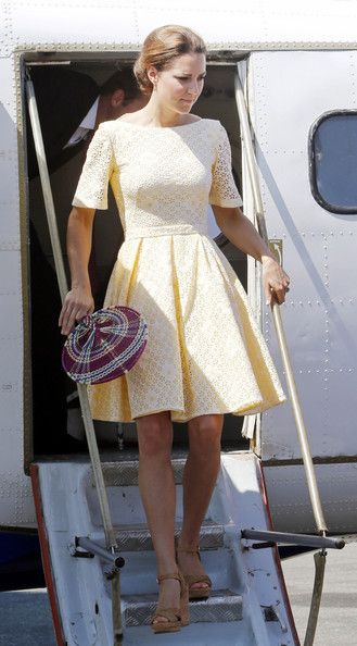 Catherine, Duchess of Cambridge arrives at Honiara International airport after flying from Marau before heading to Tuvalu on their Diamond Jubilee tour of the Far East on September 18, 2012 in Honiara, Guadalcanal Island