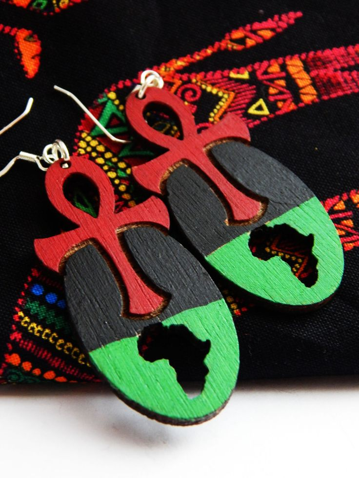 New to TheBlackerTheBerry on Etsy: Ankh Earrings Africa Jewelry Afrocentric Earrings Annkh African Jewelry Handmade Red Black Earrings African Jewelry Egyptian