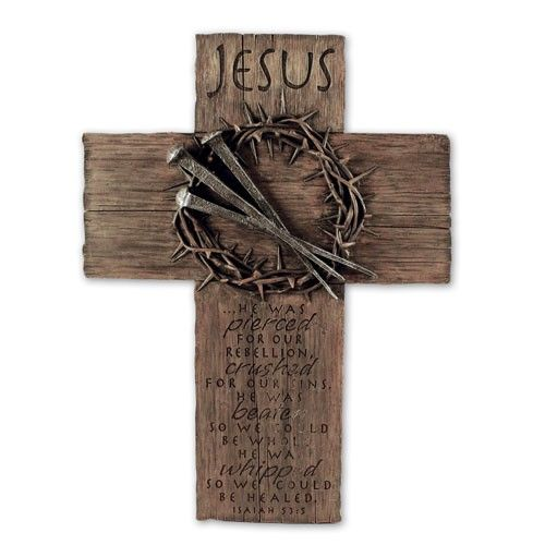 """[""""\""""Jesus...He+was+pierced+for+our+transgressions,\r\n++++he+was+crushed+for+our+iniquities;\r\nthe+punishment+that+brought+us+peace+was+on+him,\r\n++++and+by+his+wounds+we+are+healed.\""""+-+Isiah+53:5\r\n\r\n\r\nMaterials:+hand-cast+resin\r\n<\/li>\r\nTreatments:+laser+engraved,+handpainted,+metalized+finish\r\n<\/li>\r\nFeatures:+wall+hanger,+look+of+wood,+Power+of+the+Cross+booklet<\/li>\r\nProduct+Size:+11\""""+x+15\""""+<\/li><\/ul>""""] $36.99"""