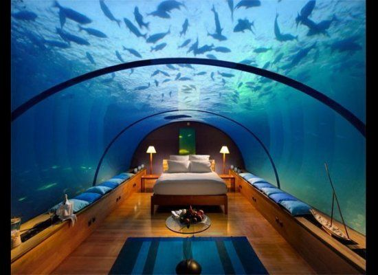 The underwater suite at Conrad Maldives Rangali Island.
