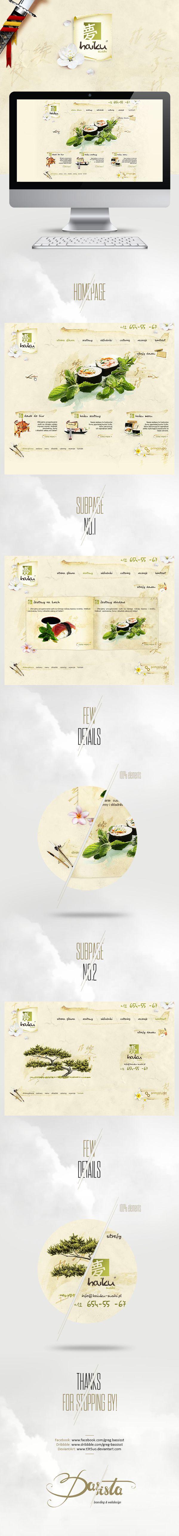 Inspiração de #webdesign Haiku sushi por Greg Basista. Detalhes que dão delicadeza e requinte a identidade do site.