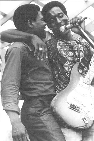 """Junior Wells and Buddy Guy (shown at the Ann Arbor Blues Festival, 1970 by Charles Sawyer), """"My Home's In the Delta"""""""