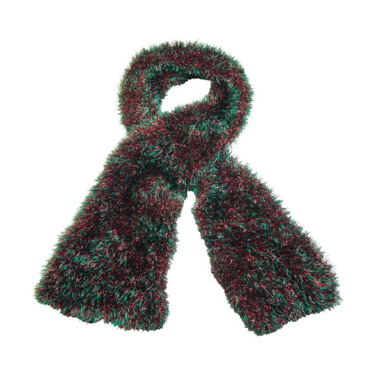 Adults Christmas fancy dress red and green fluffy tinsel scarf