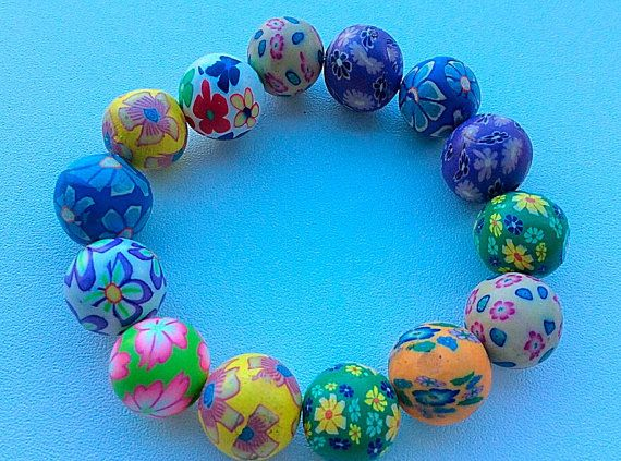 Bead bracelet Bead bangle multi coloured bead by PetalcraftArt