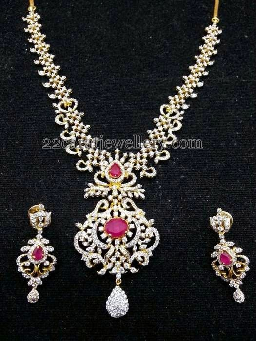 Jewellery Designs: Diamond Ruby Short Necklace