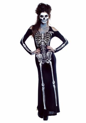 girls skeleton bone appetit halloween costume long dress plus size scary