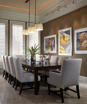 Suspended Track Lighting In Dining Room