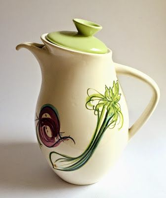 "1950s Diana Australia coffee pot | hand painted ""vegetable"""