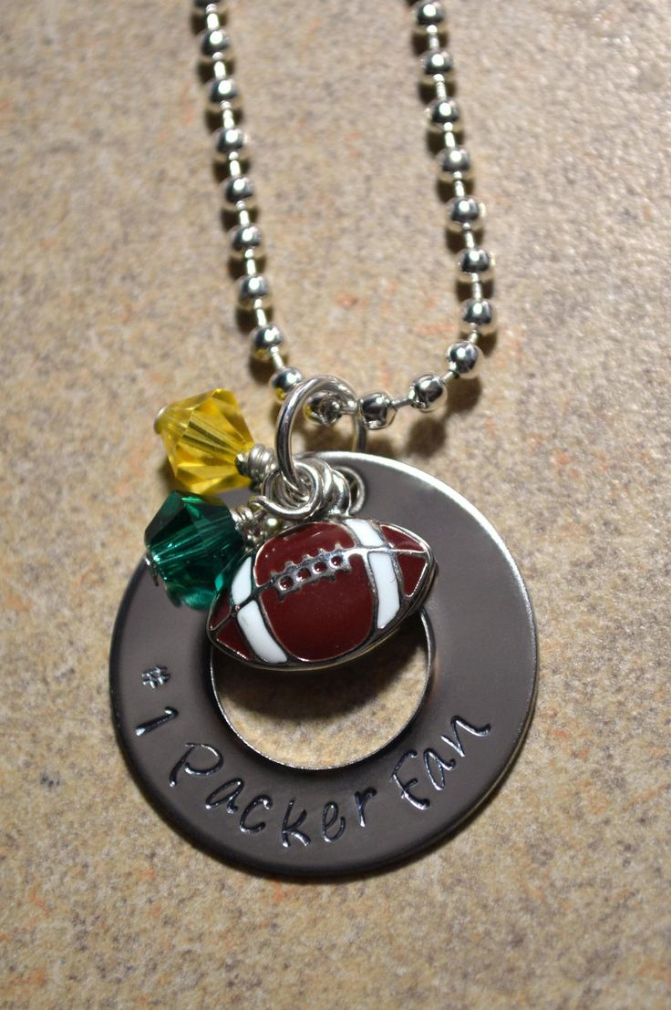 Football necklace - Packer necklace - College football necklace - Pro football necklace. $ 25.00, via Etsy. -- pinning the pic for the idea-- go hokies