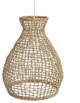 For alfresco? These pendants are reminiscent of lobster traps with their rattan basket weave shades. A key to the beach vibe is to keep things light and airy and these won't weigh down the room.
