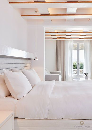 A minimalist suite at the Bill & Coo Suites and Lounge in Mykonos