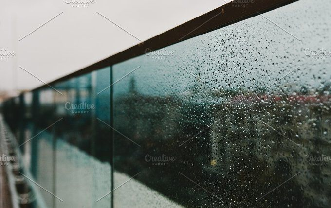 Art of Glass Rails at the Rain by Pro.Motion on @creativemarket glass, rain, window, background, fence, steel, rainy, house, drops, water, day, snow, texture, weather, gutter, green, view, blue, storm, white, reflection, drop, raindrop, front, blurred, surface, wet, transparent, double, balcony, modern, technology, wallpaper, autumn, spring – Perfect Stock Design. Art Photos and Footages Staff