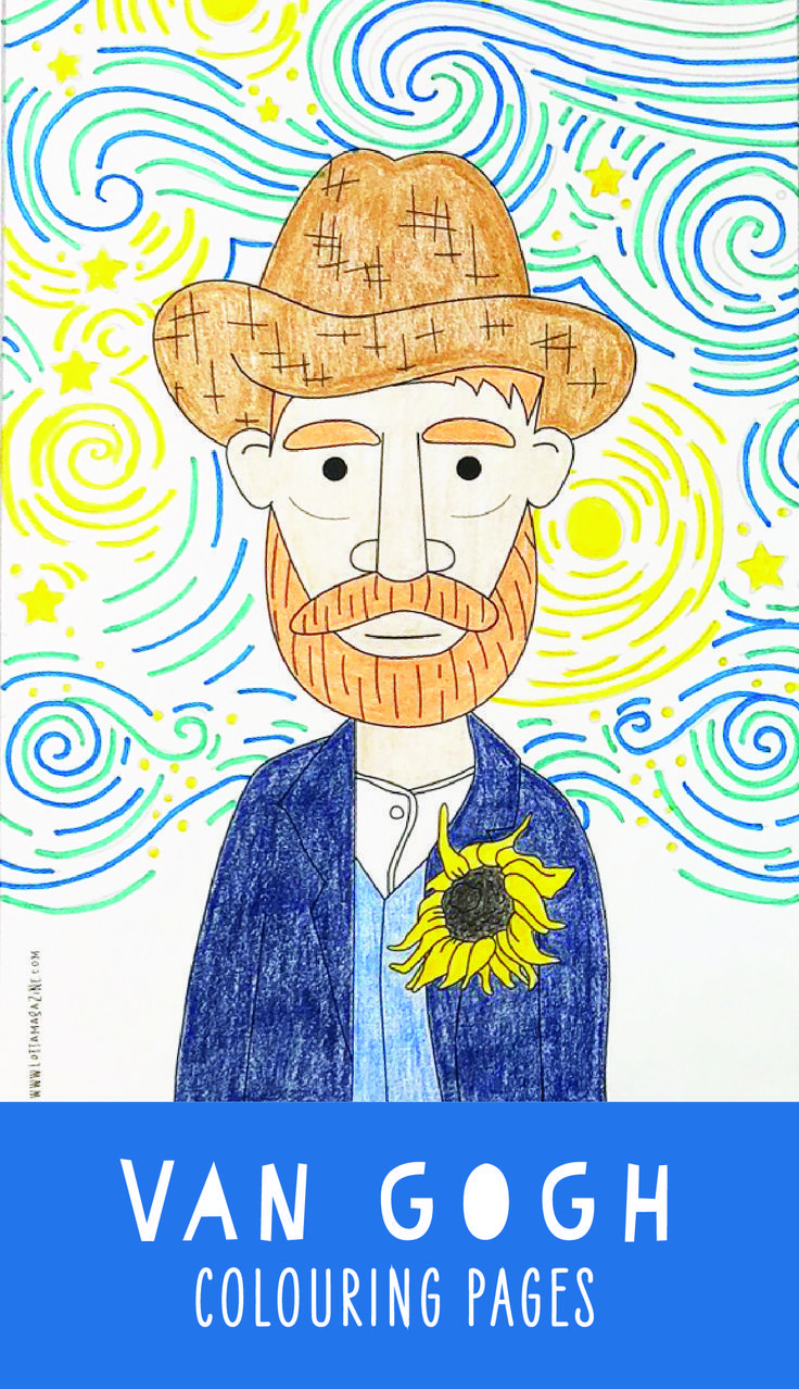 Fun Vincent Van Gogh Colouring Pages For Kids Kids Art History Coloring Pages Asiatischerezepte Van Gogh Coloring Van Gogh Art Art For Kids