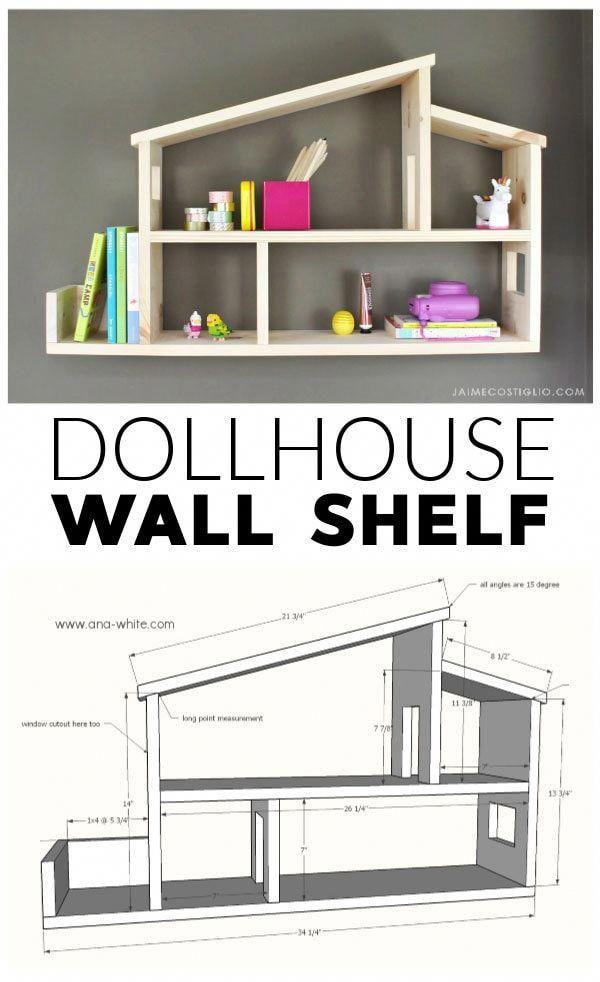 A DIY tutorial to build a dollhouse style wall shelf. Two