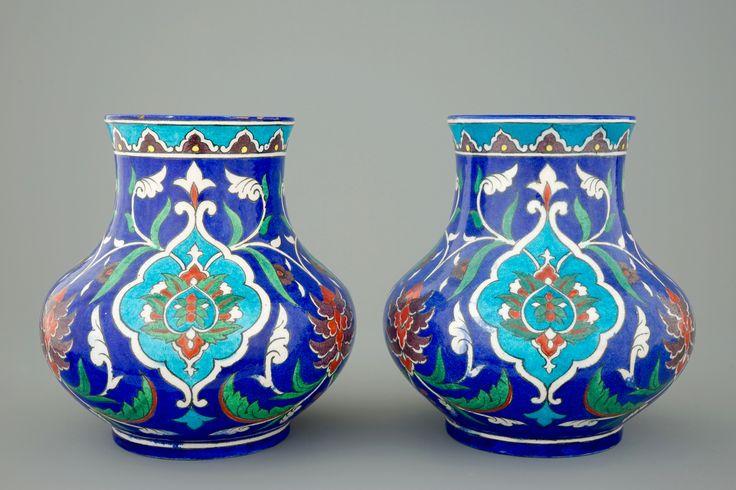 A pair of Theodore Deck Iznik style vases, 1875-1880