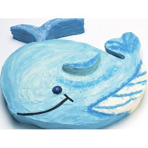 Wally whale birthday cake recipe - By Australian Women's Weekly, Give your child's birthday a fun nautical theme with this delightful Wally whale birthday cake, if you make the cake the day before and freeze it, it will be easier to decorate.