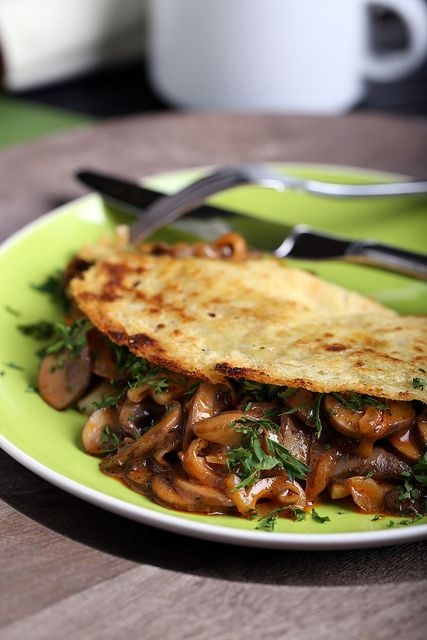 Coconut-Chickpea Crepes with Smoky Herbed Mushrooms