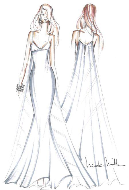 Nicole Miller sketches fantasy wedding dress for Jennifer Aniston via @Brides