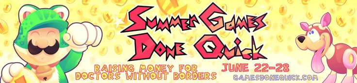 Summer Games Done Quick 2014 Charity Drive Starts Today, Features Many SEGA Hits -  Speed Demos Archive and Speed Runs Live are teaming up once again this year for Summer Games Done Quick 2014. A charity event hosted by speed runners to help the less fortunatestarting today and airs nonstop until the 29th. Once again they're raising funds for Doctors Without Borders and ... http://www.sonicretro.org/2014/06/summer-games-done-quick-2014-charity-drive-starts-today-featu