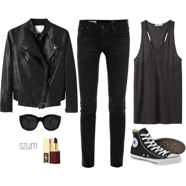 A fashion look from April 2013 featuring T By Alexander Wang, moto jacket and stretch jeans. Browse and shop related looks.