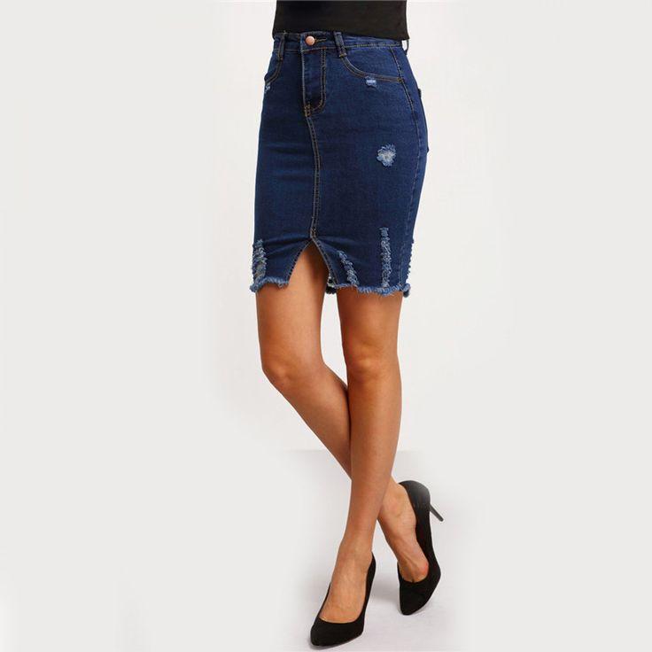Fashion Clothing Women Sexy Skirts Free Shipping 2017 Plain Navy Ripped Front Split Denim Short Skirt