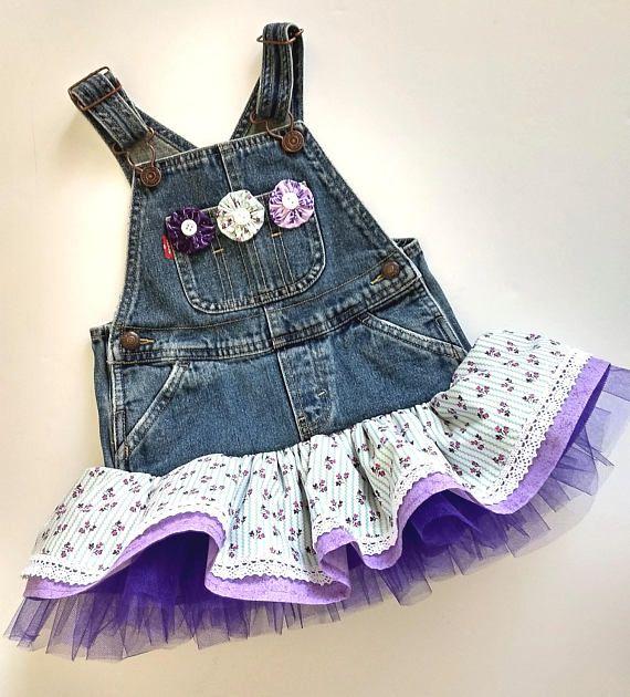 24M country denim overall tutu dress. Purple ruffled overall