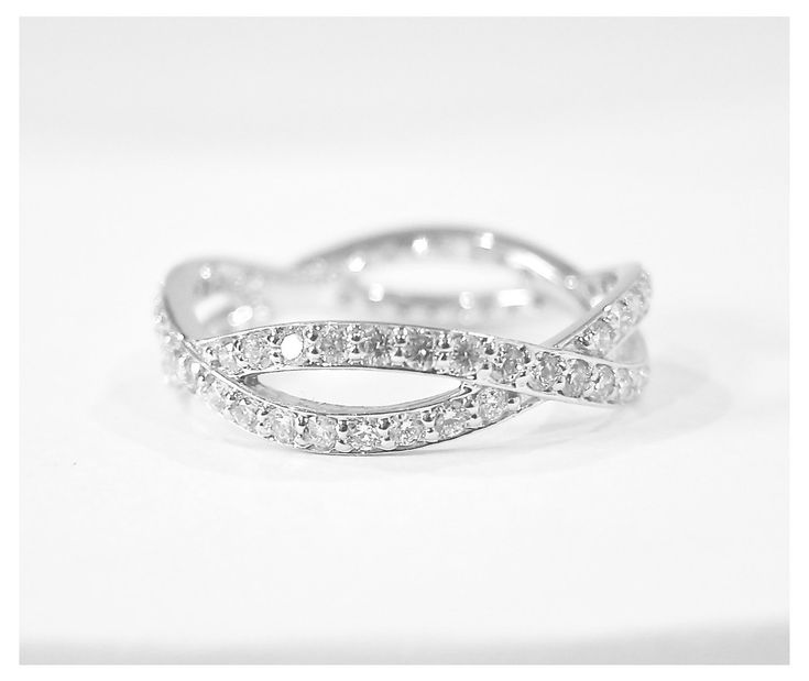 14k White Gold Diamond Eternity Infinity Ring. $1,275.00, via Etsy.