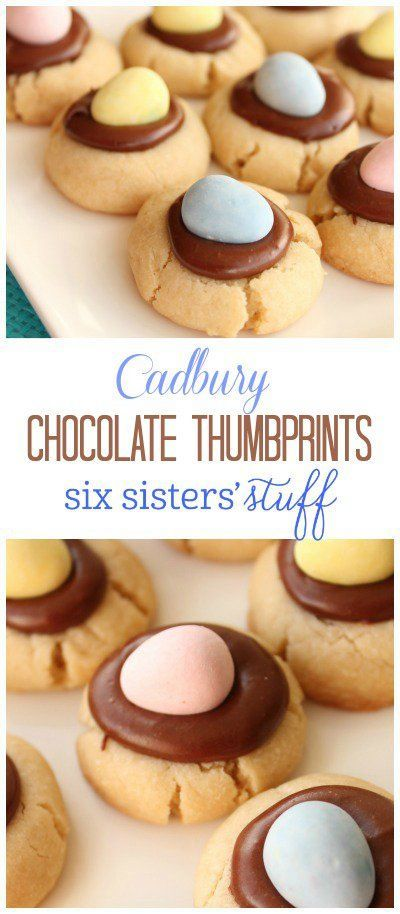 Cabury Chocolate Thumbprint Cookies on SixSistersStuff.com | A buttery thumbprint cookie topped with chocolate frosting and a Cadbury mini egg. An adorable and delicious snack for your Easter celebration!