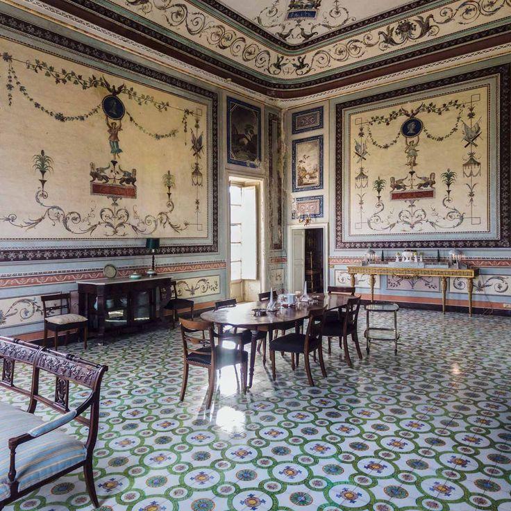 The dining room at Villa Valguarnera. Bagheria, Italy.