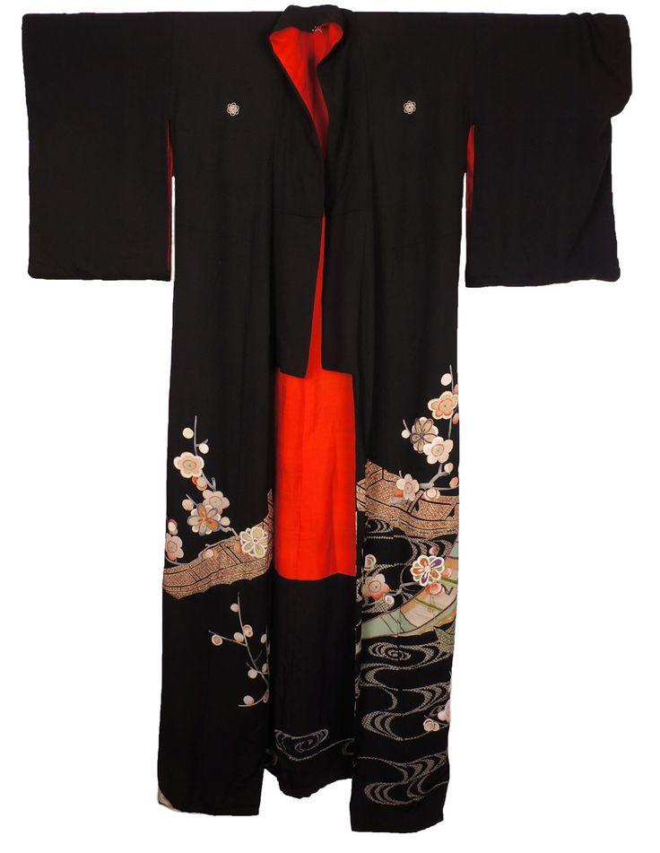 Taisho Period Kuro Tomesode Geisha Hikizuri Kimono