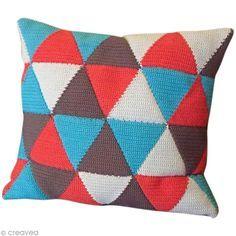 Tuto coussin au crochet - Fiche technique Crochet et tricot pas à pas, idées et conseils loisirs créatifs - Creavea