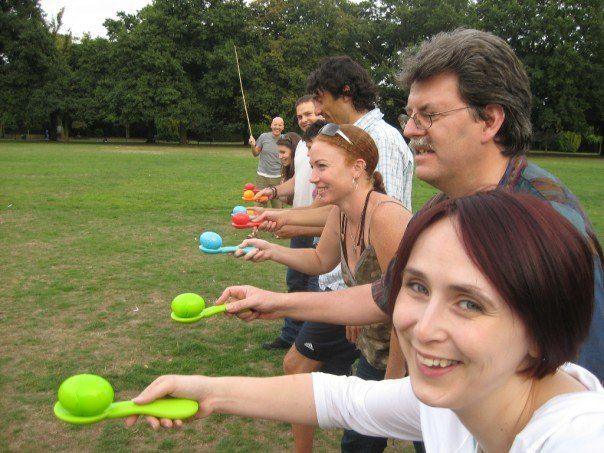 The Egg and Spoon Race! A fantastic way of keeping the kids (and adults) entertained at Ditton Field